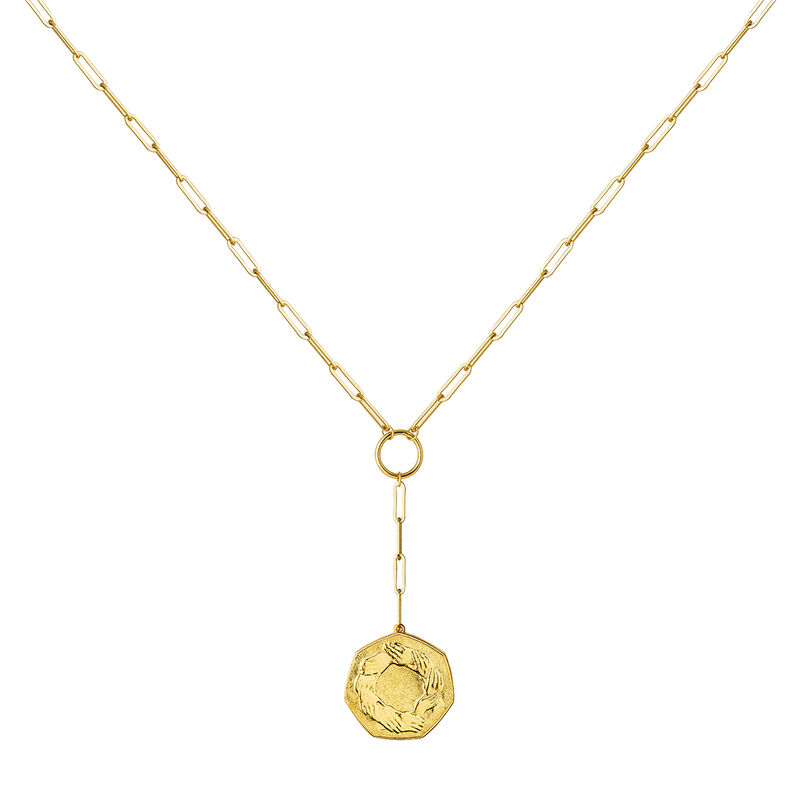 Gold plated hexagonal coin pendant, J03593-02, hi-res