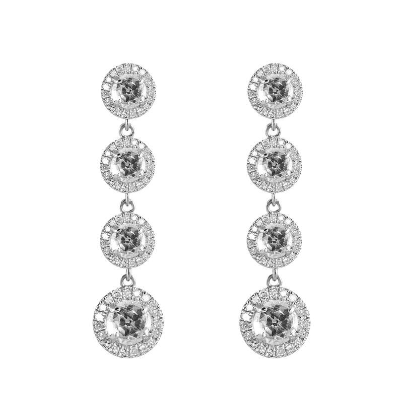 Silver diamond topaz pendant rosette earrings, J01489-01-WT, hi-res