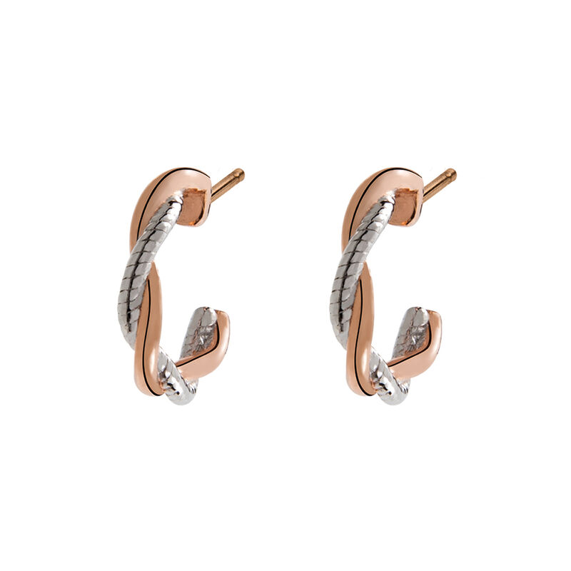 Bicolour silver smooth braided hoop earrings, J02076-05, hi-res