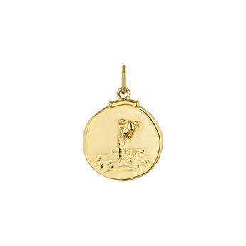 Pendentif verseau argent plaqué or, J04780-02-ACU, hi-res