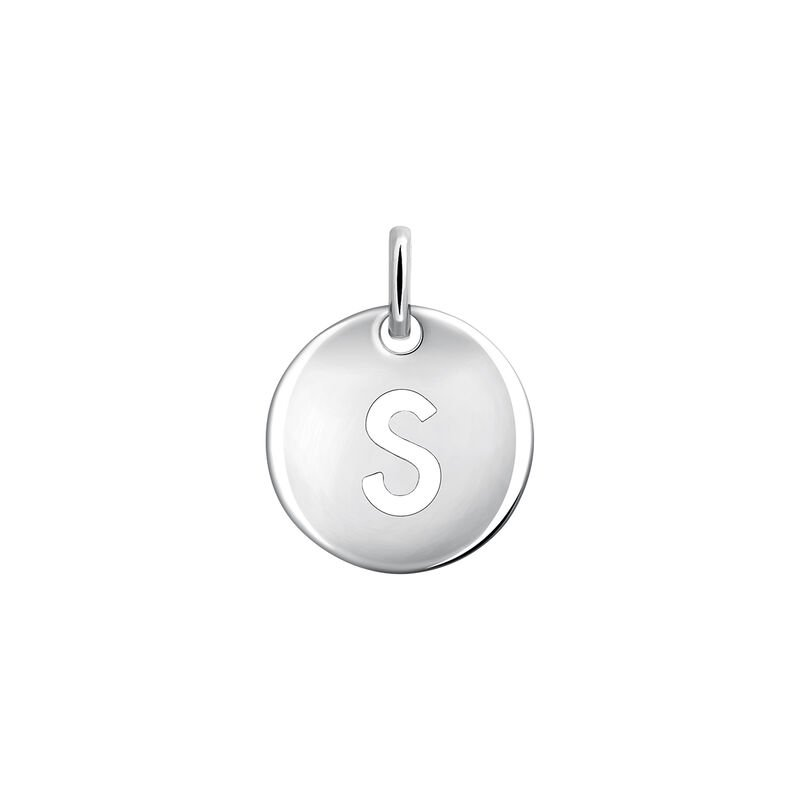 Silver initial S medal necklace, J03455-01-S, hi-res