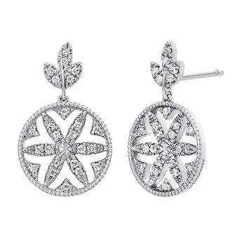 Silver Diamonds Border Earrings, J03713-01-GD, hi-res