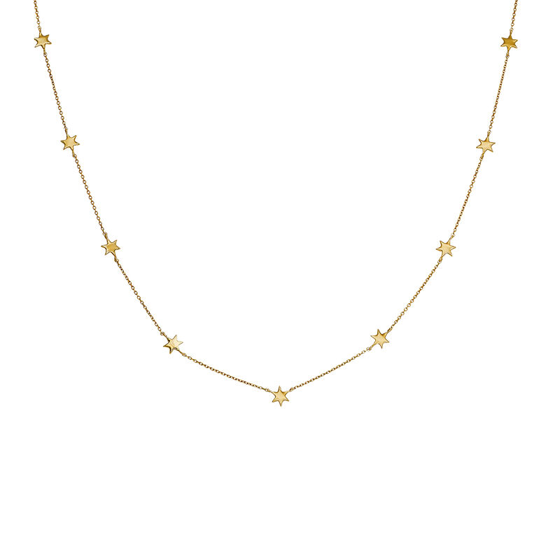 Gold necklace with stars, J03867-02, hi-res