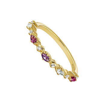 Gold plated stones ring, J04661-02-WT-RO-AM, hi-res