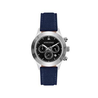 Soho watch blue strap black face., W29A-STSTBL-FABU, hi-res