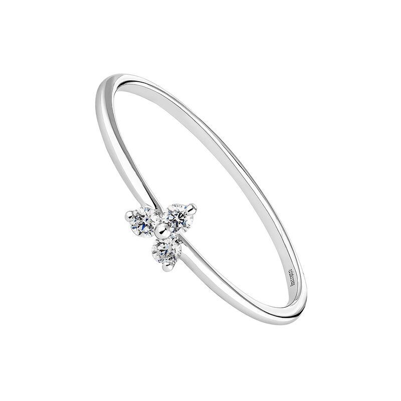 Bague trèfle diamants or blanc, J04434-01, hi-res