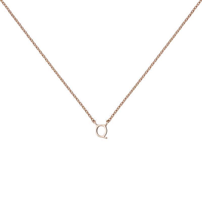 Collar inicial Q oro rosa9 kt, J04382-03-Q, hi-res