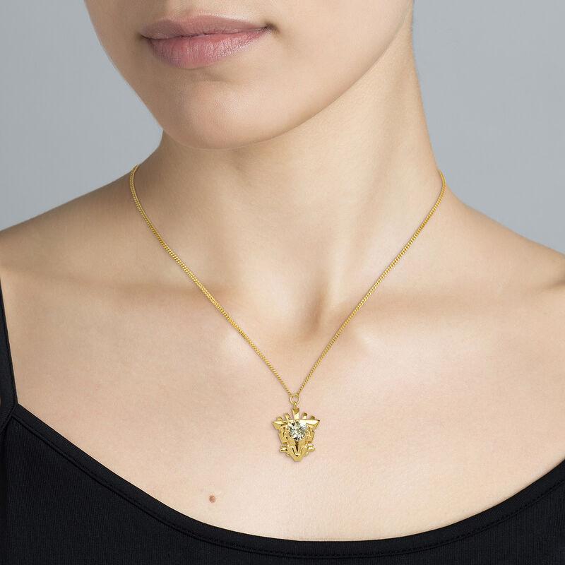 Gold plated quartz motif necklace, J04555-02-GQ, hi-res