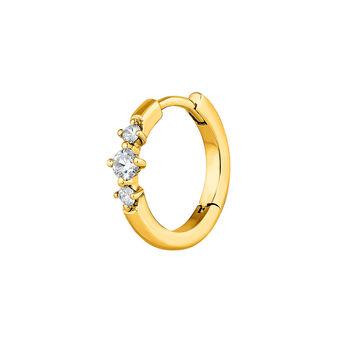 Pendiente aro 3 diamantes oro, J03929-02-H, hi-res