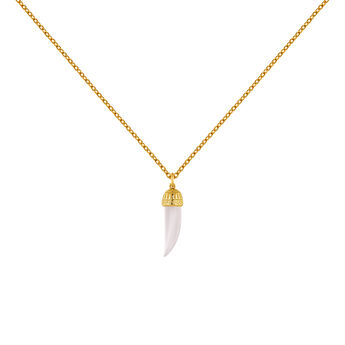 Gold plated silver pink quartz horn necklace, J04389-02-PQ, hi-res