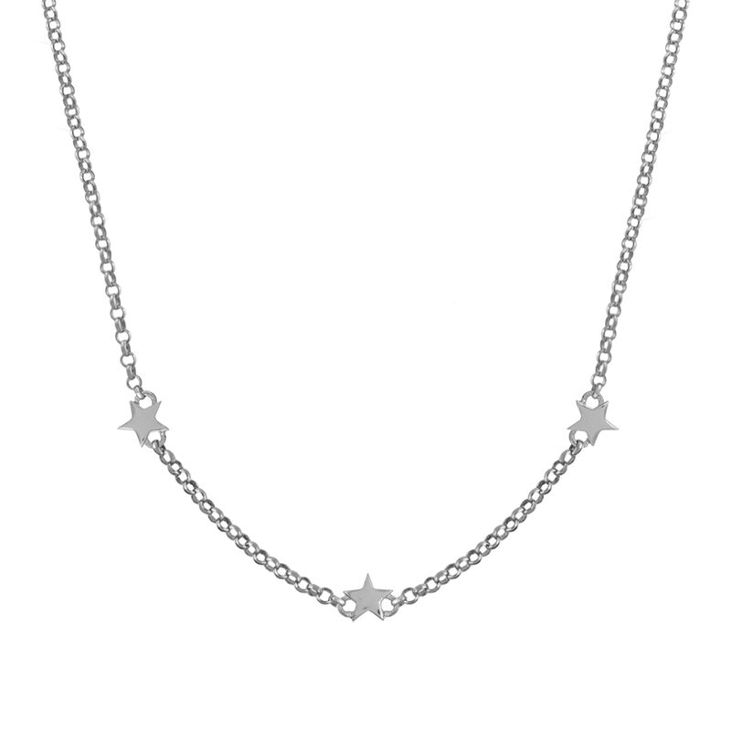 Mini silver stars necklace, J01900-01, hi-res