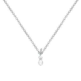 Collier avec pendentif avec topaze et diamant argent, J03718-01-WT-GD, hi-res