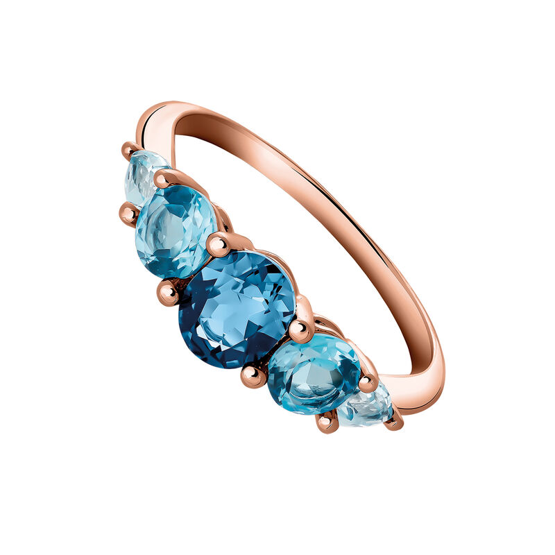 Small rose gold plated ring with topaz, J03418-03-LBSBSK, hi-res