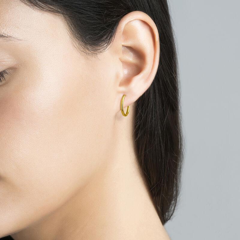 Gold plated simple  hoop earrings, J03467-02-PQ, hi-res