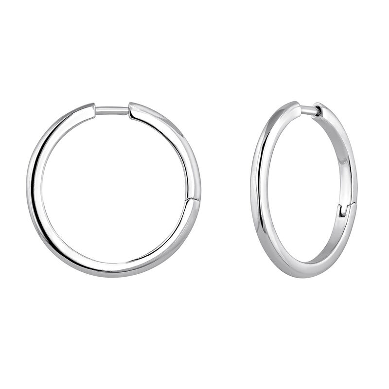 Boucle d'oreille créoles combinable argent, J04643-01, hi-res
