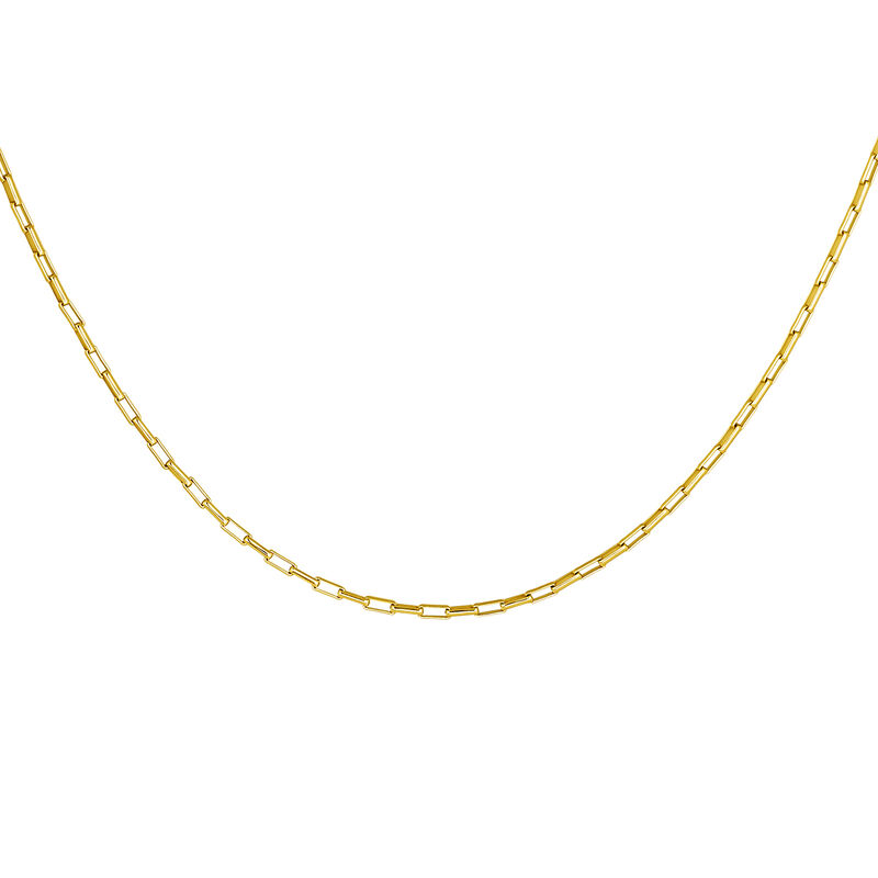 Gold plated square links chain necklace, J04615-02, hi-res