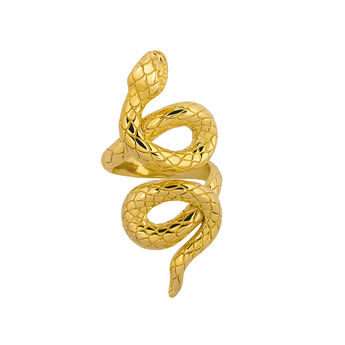 Gold coiled snake ring, J03179-02, hi-res