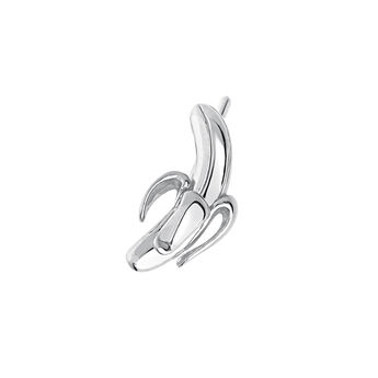 Silver banana earring, J03725-01, hi-res