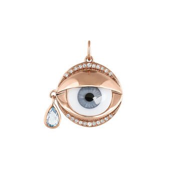 Colgante ojo azul topacio azul plata recubierta oro rosa, J04397-03-BESKYWT, hi-res