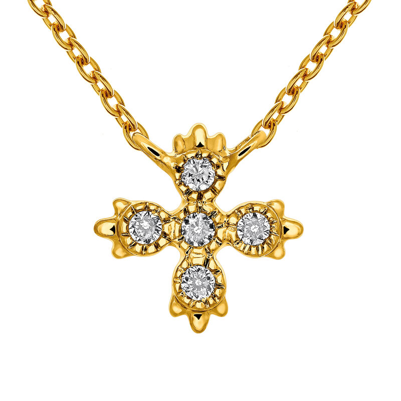 Gold necklace five diamonds 0.03 ct, J03396-02, hi-res