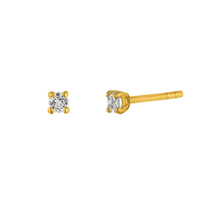 Gold plated earrings prong topaz, J03457-02-WT, hi-res