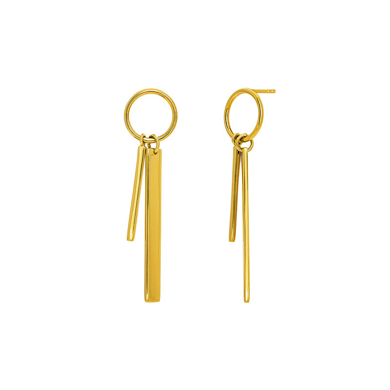 Gold double hoop earrings with bar, J03659-02, hi-res