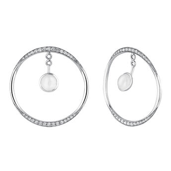 Silver moonstone white topaz hoop earrings, J04157-01-WMS-WT, hi-res