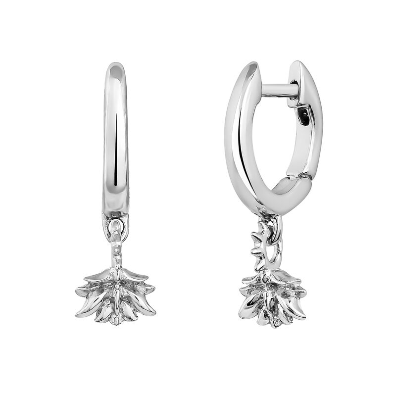 Silver lotus flower hoop pendant earrings, J04597-01, hi-res