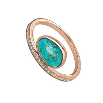 Pink gold plated chrysocolla boho ring, J04111-03-CH-WT, hi-res
