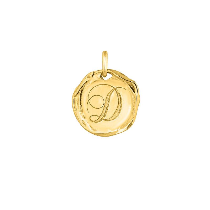 Pendentif médaille initiale D en argent plaqué or, J04641-02-D, hi-res