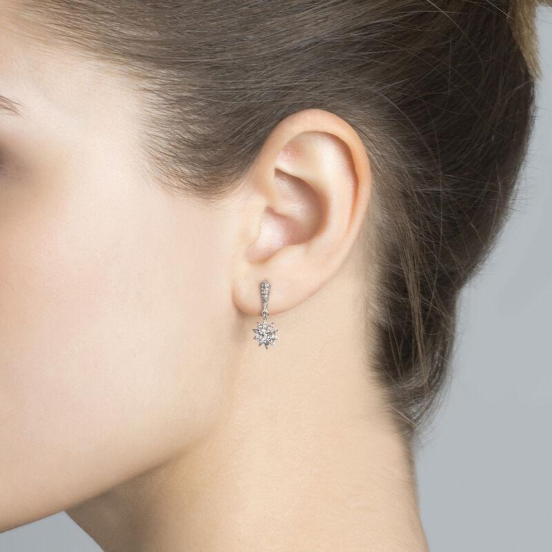 Silver gemstones star earrings, J03720-01-GD-WT, hi-res