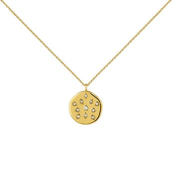 Gold plated topaz medal necklace, J04266-02-WT, hi-res