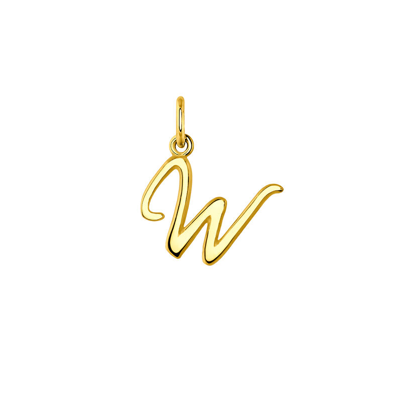 Gold letter W necklace, J03932-02-W, hi-res