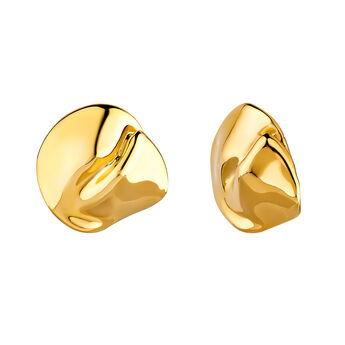 Round gold plated petal earrings, J04383-02, hi-res