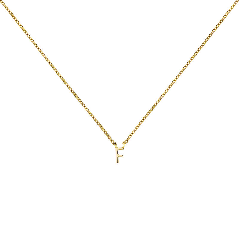 Gold Initial F necklace, J04382-02-F, hi-res