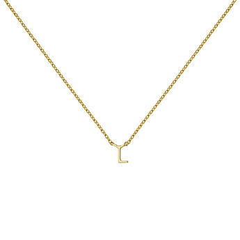 Gold Initial L necklace, J04382-02-L, hi-res