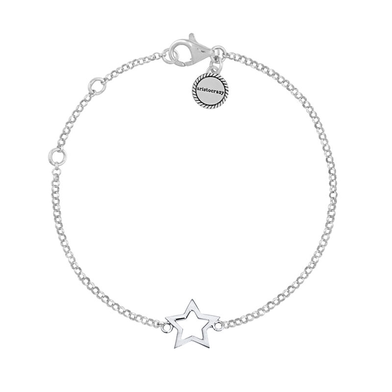 Silver hollow star bracelet, J01373-01, hi-res