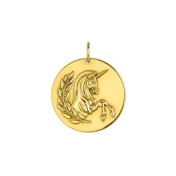 Pendentif licorne argent plaqué or, J04009-02, hi-res