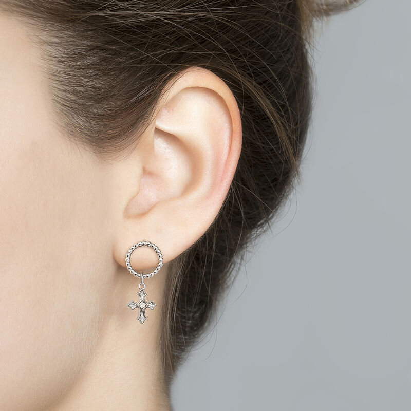 Small-size cross hoop earrings with topaz, J04227-01-WT, hi-res