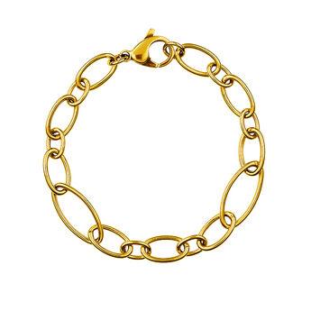 Gold round and oval link bracelet, J01369-02, hi-res