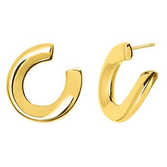 Pendientes de aro escultóricos oro, J03521-02, hi-res