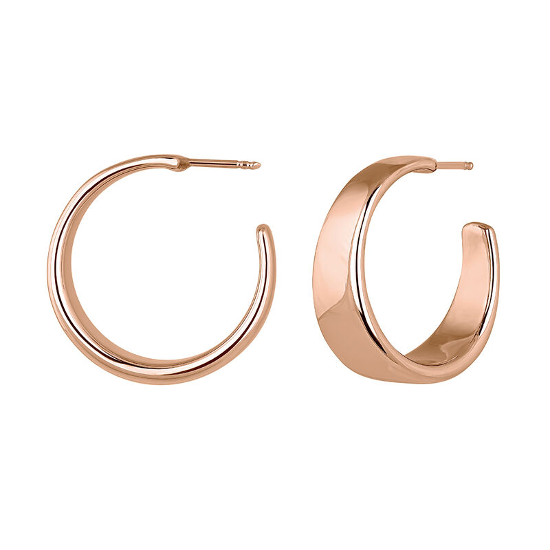 Wide rose gold plated flat hoop earrings, J04216-03, hi-res