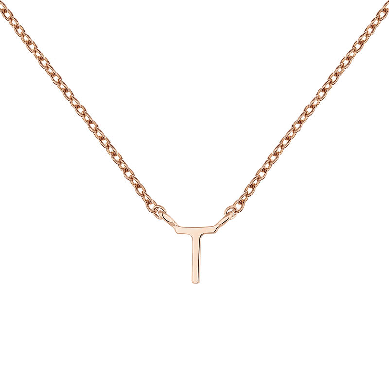 Collier initiale T or rose, J04382-03-T, hi-res
