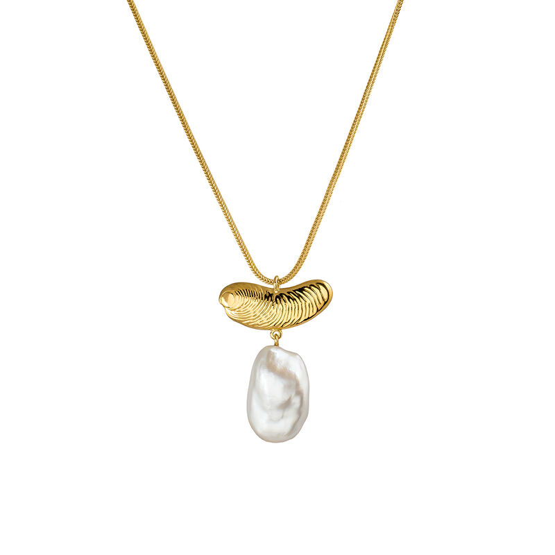 Large gold pearl sculptural necklace, J04058-02-WP, hi-res