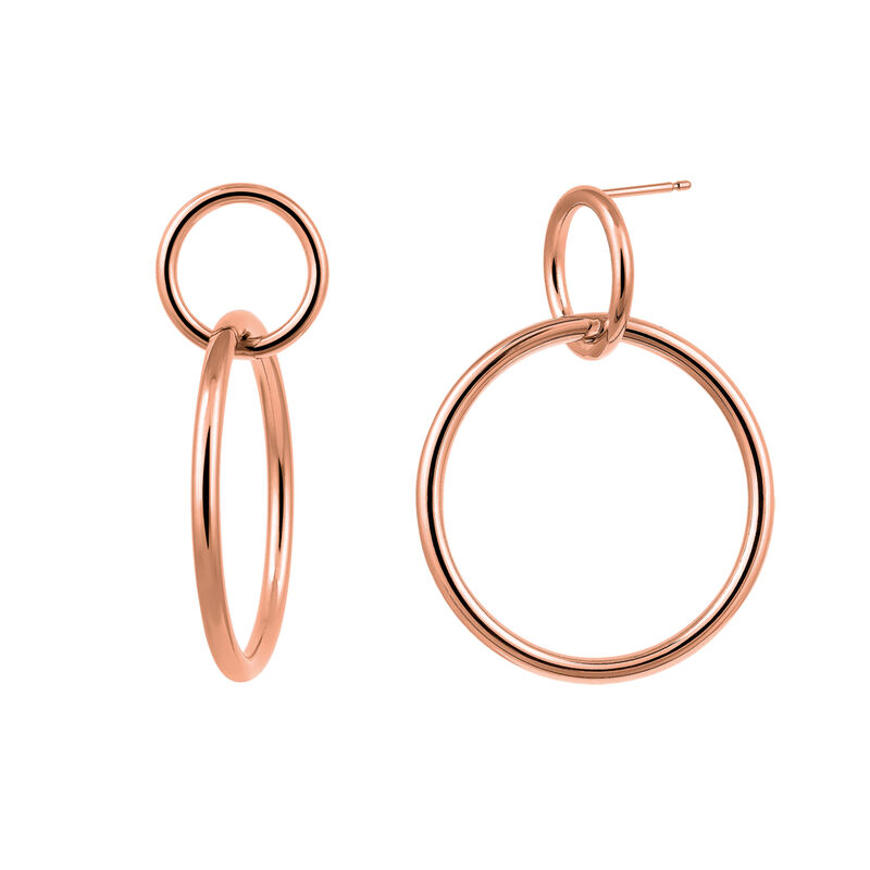 Rose gold double hoop earring, J03432-03, hi-res