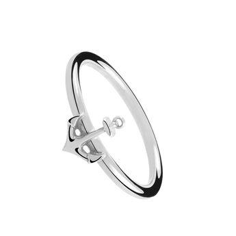 Anillo ancla plata, J01379-01, hi-res
