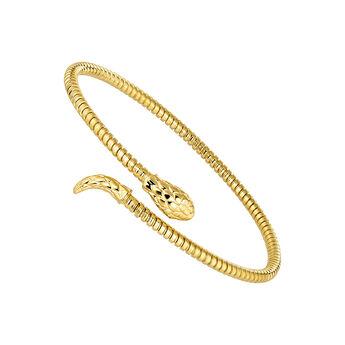 Pulsera serpiente fina tubogas plata recubierta oro, J04290-02, hi-res