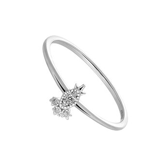 Anillo seis diamantes 0,028 ctoro blanco 9 kt, J03389-01, hi-res