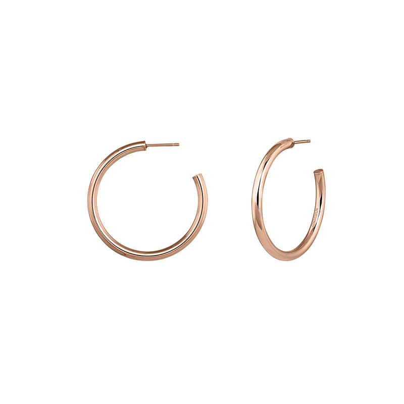 Boucles d'oreilles créoles moyennes argent plaqué or rose, J04192-03, hi-res