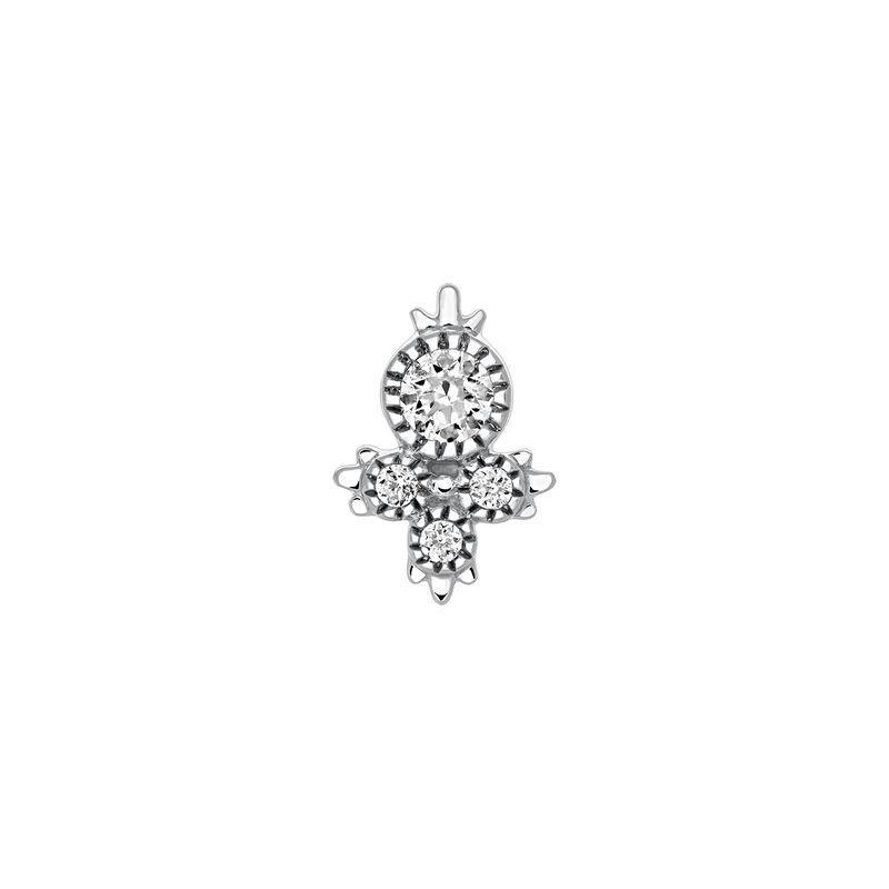 Pendiente cuatro diamantes oro blanco 0,08 ct, J03384-01-H, hi-res